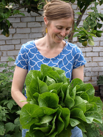 Rachel with lettuces