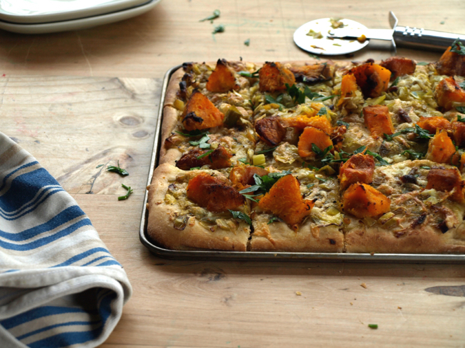 Pumpkin, leek and anchovy pizza