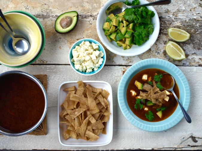 Tortilla soup and toppings