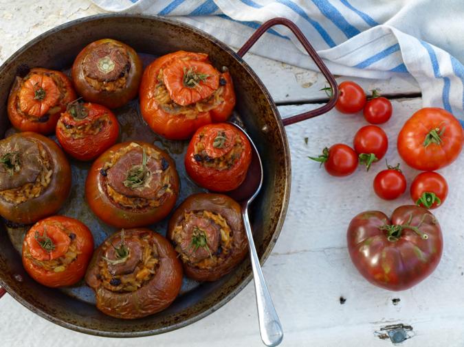 Greek style vegetarian stuffed tomatoes