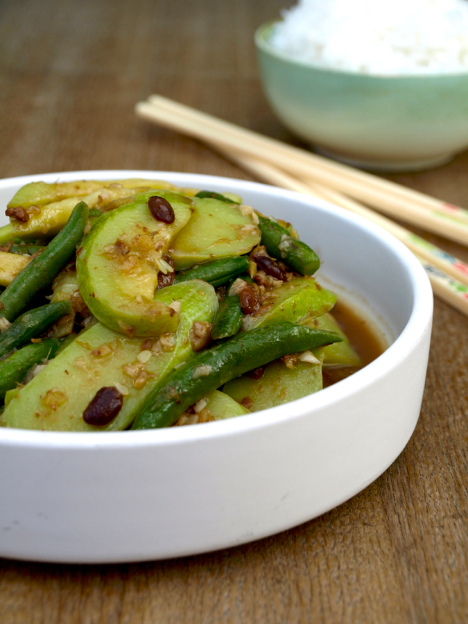 Stir-fried courgette and seasonal greens