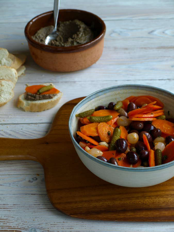 Spanish pickled vegetables and chicken liver pate