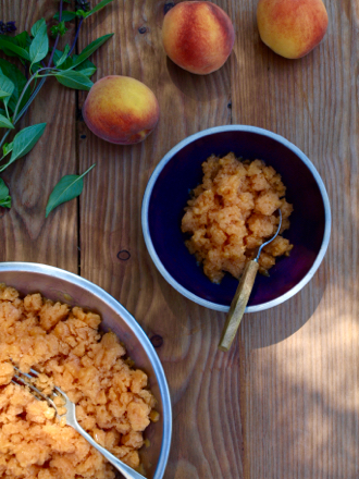 Peach and Thai basil granita