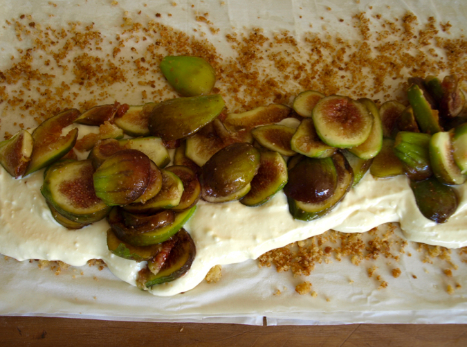Fig and quark (or cream cheese) strudel in the making