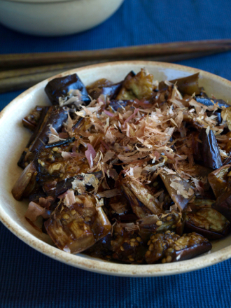 Japanese aubergine with yuzu and bonito