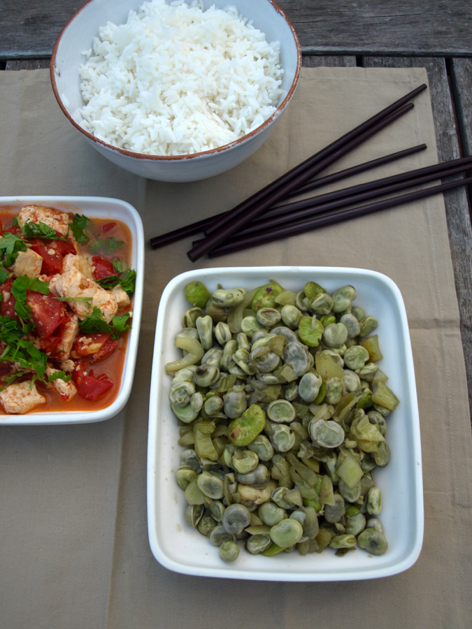 Broad bean stir-fry (with pickled mustard greens), and tofu tomato stir-fry
