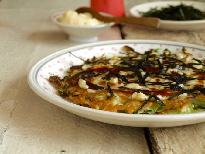Simple cabbage okonomiyaki, homemade brown sauce