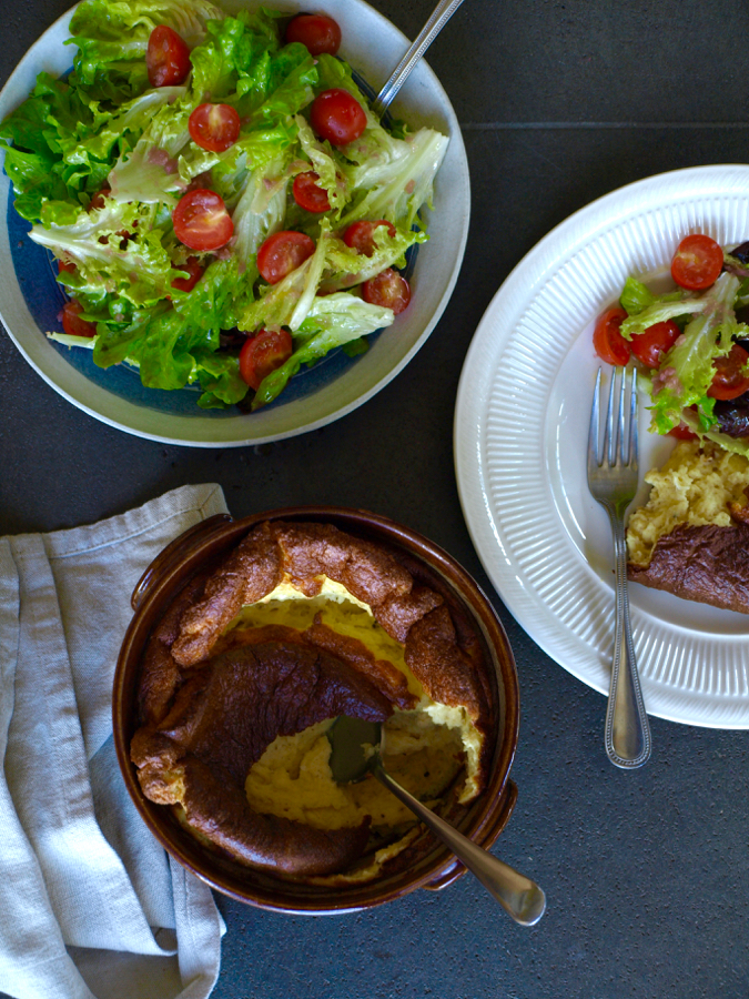 Cheese souffle and best-dressed salad