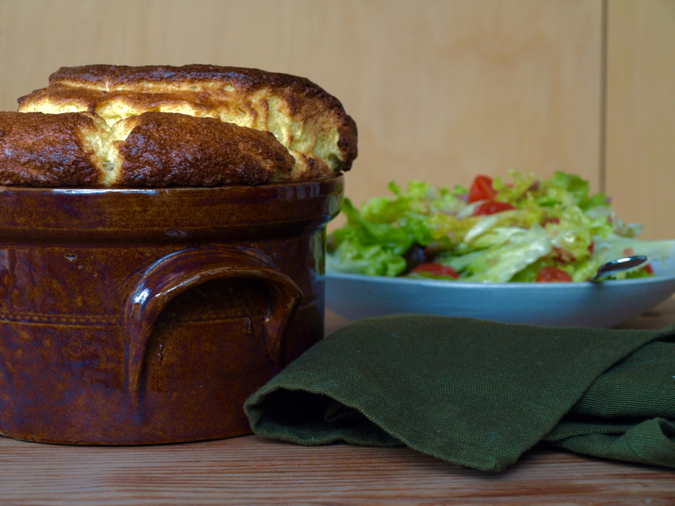 Cheese souffle straight from the oven