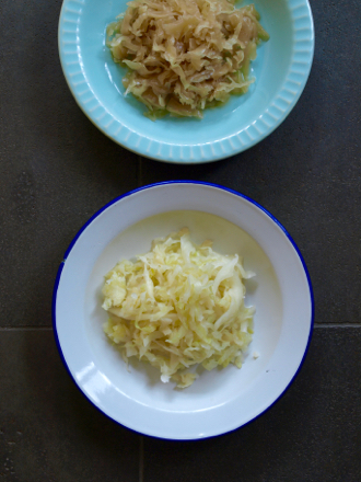Homemade fresh sauerkraut (below) meets old sauerkraut