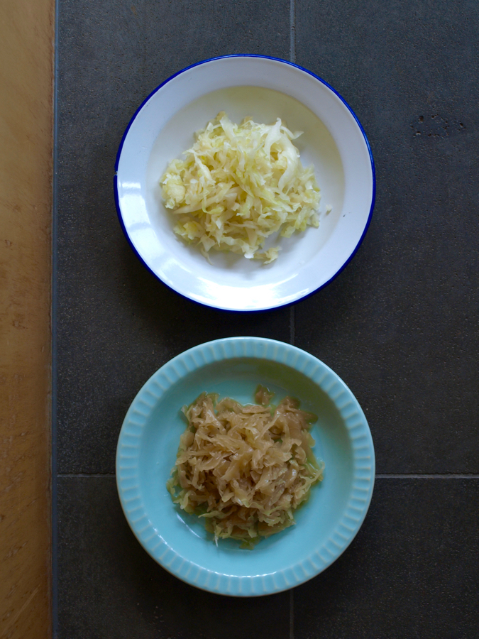 Fresh homemade sauerkraut (above) meets 18 month old sauerkraut