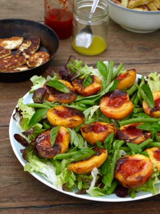 Peach and haloumi salad