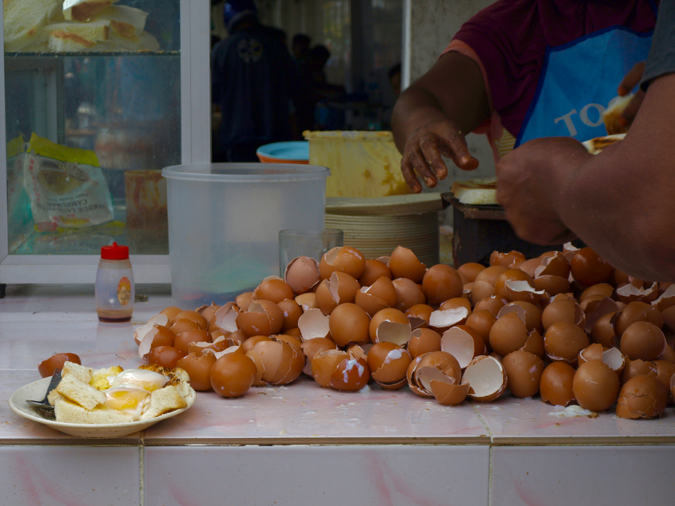 Street side eggs for breakfast in Georgetown, Penang, Malaysia
