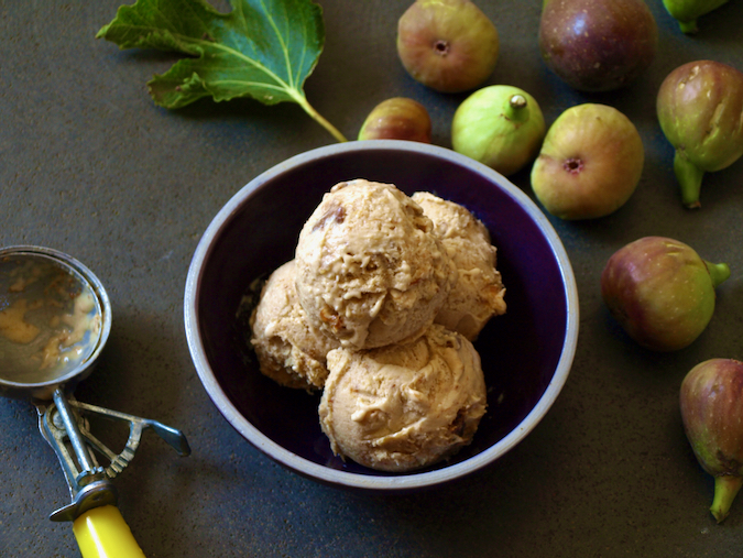Fig and cinnamon ice cream made with honey-roasted figs